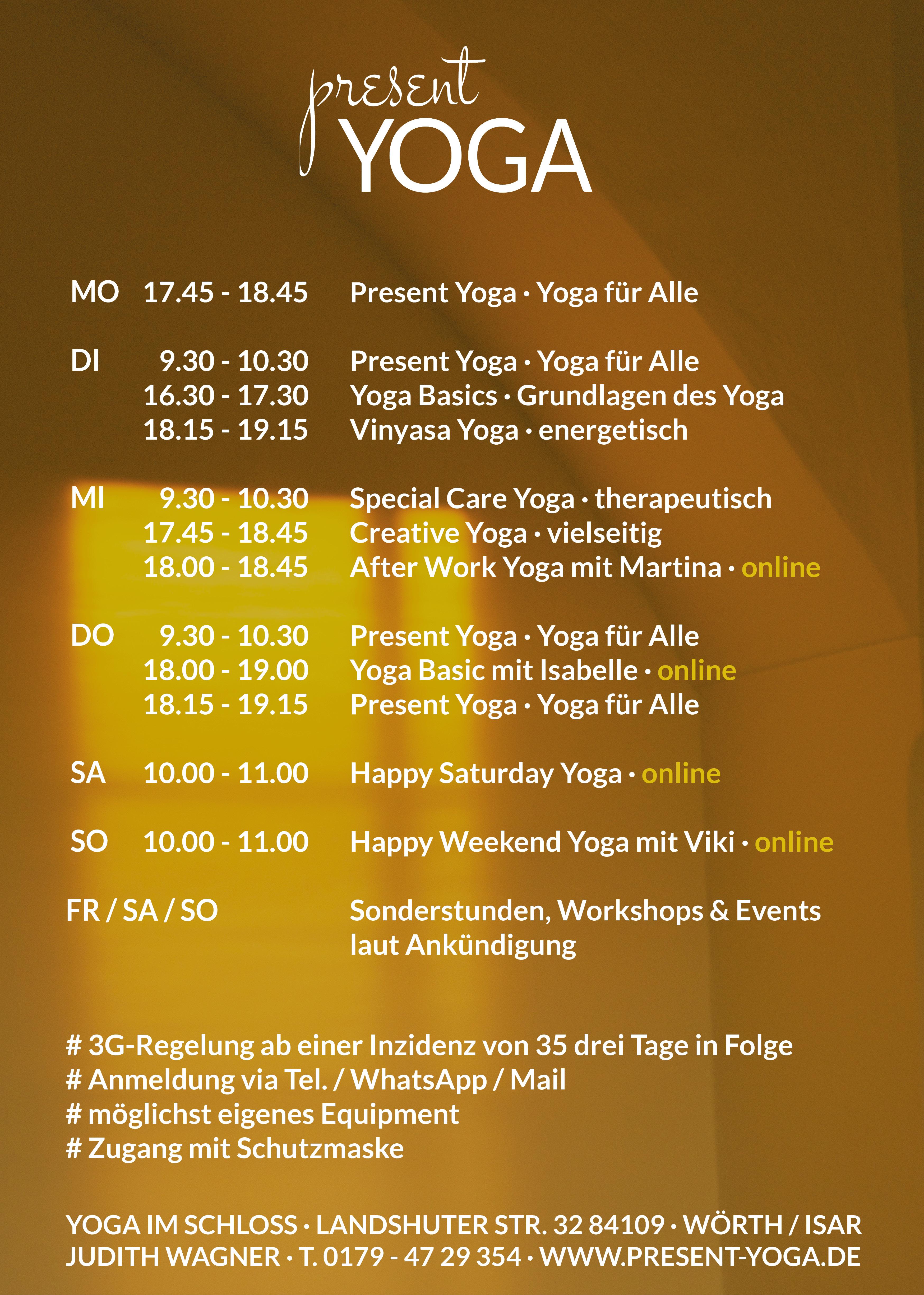 Present Yoga Herbststundenplan